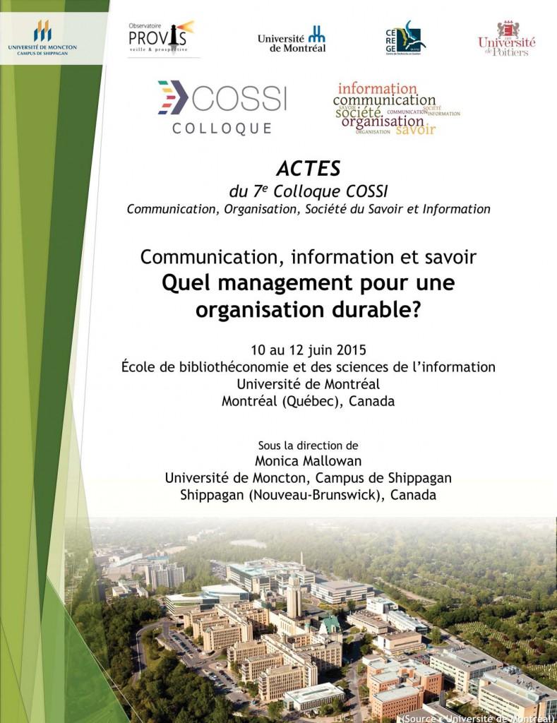 Actes du COSSI 2015
